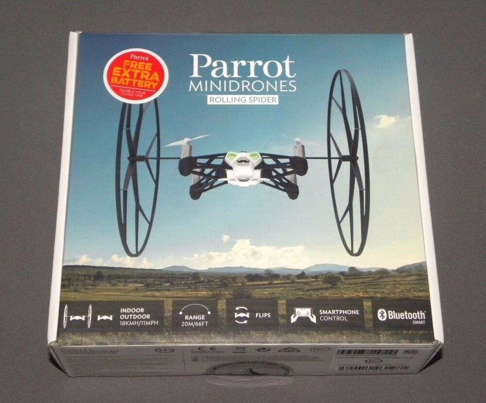 Parrot MiniDrones Rolling Spider White Drone RC Vehicle w ...