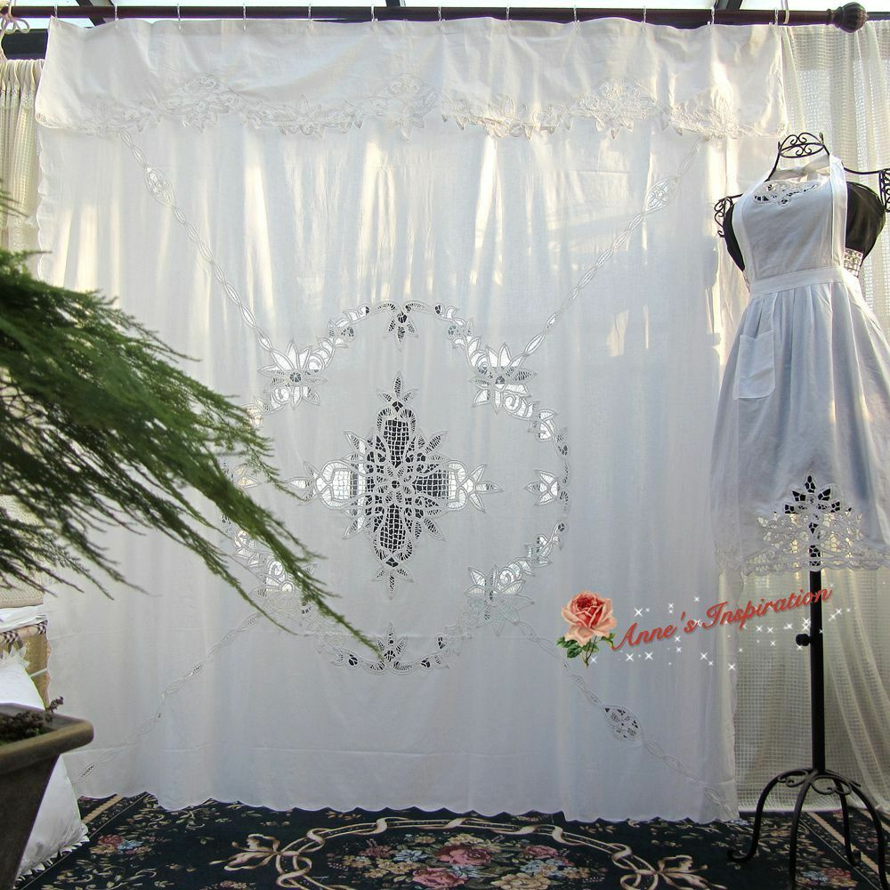 Details About Beautiful Battenburg Lace Shower Curtain BWhiteCotton7272Elegant Life