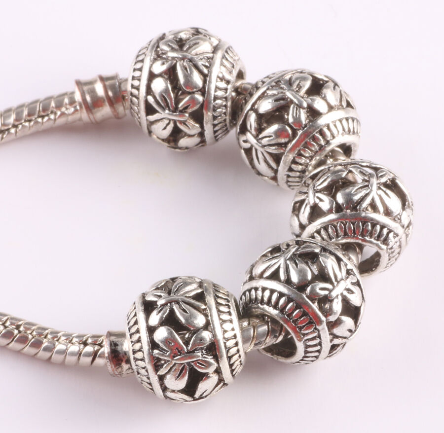 Metal Charm Bracelets: Free 10pcs Retro Tibetan Silver Spacer Beads Fit Charm