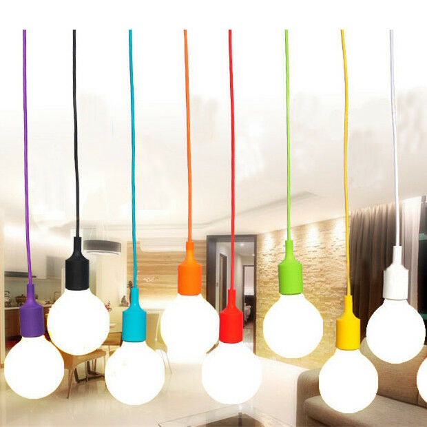 E27 75mm Color Silicone Ceiling Rope Cord Pendant Lamp