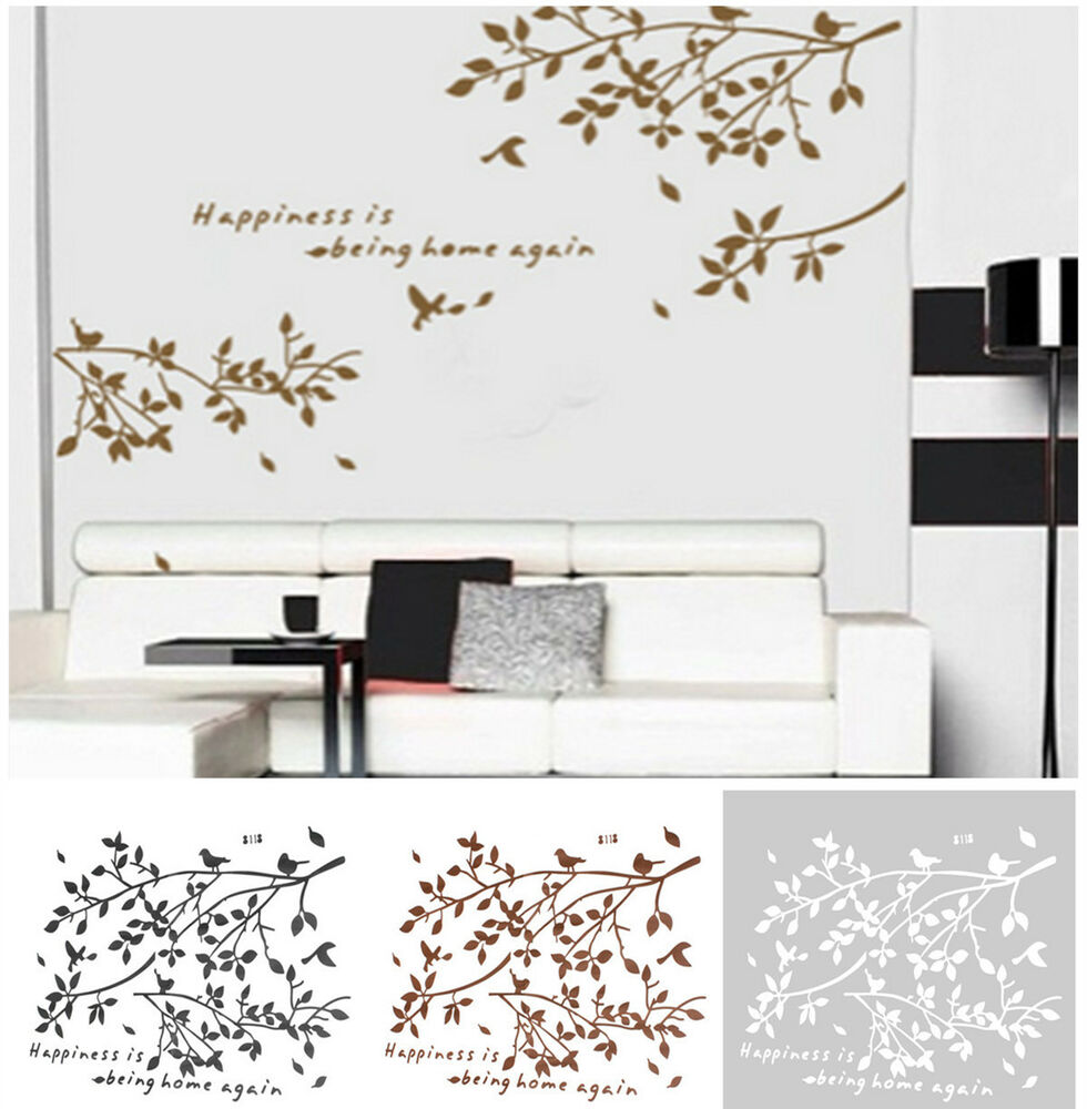Black removable tree branches birds vinyl wall sticker for Decorative wall mural