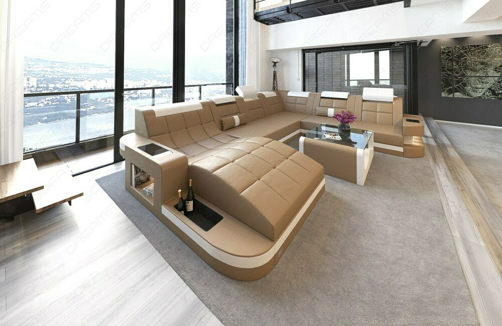 big sofa xxl wohnlandschaft megasofa ecksofa couchgarnitur wave led lampen ebay. Black Bedroom Furniture Sets. Home Design Ideas
