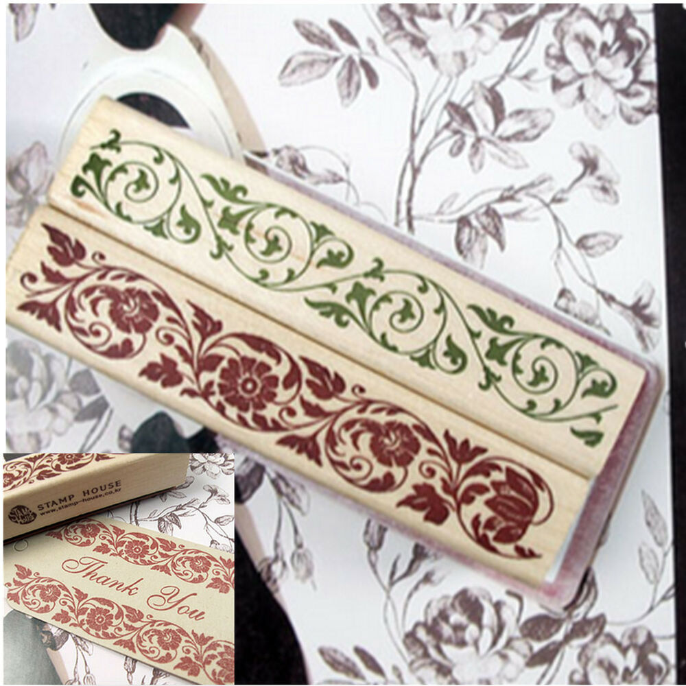 Wooden Rubber Stamp Vintage Flower Lace Floral Diary Cards