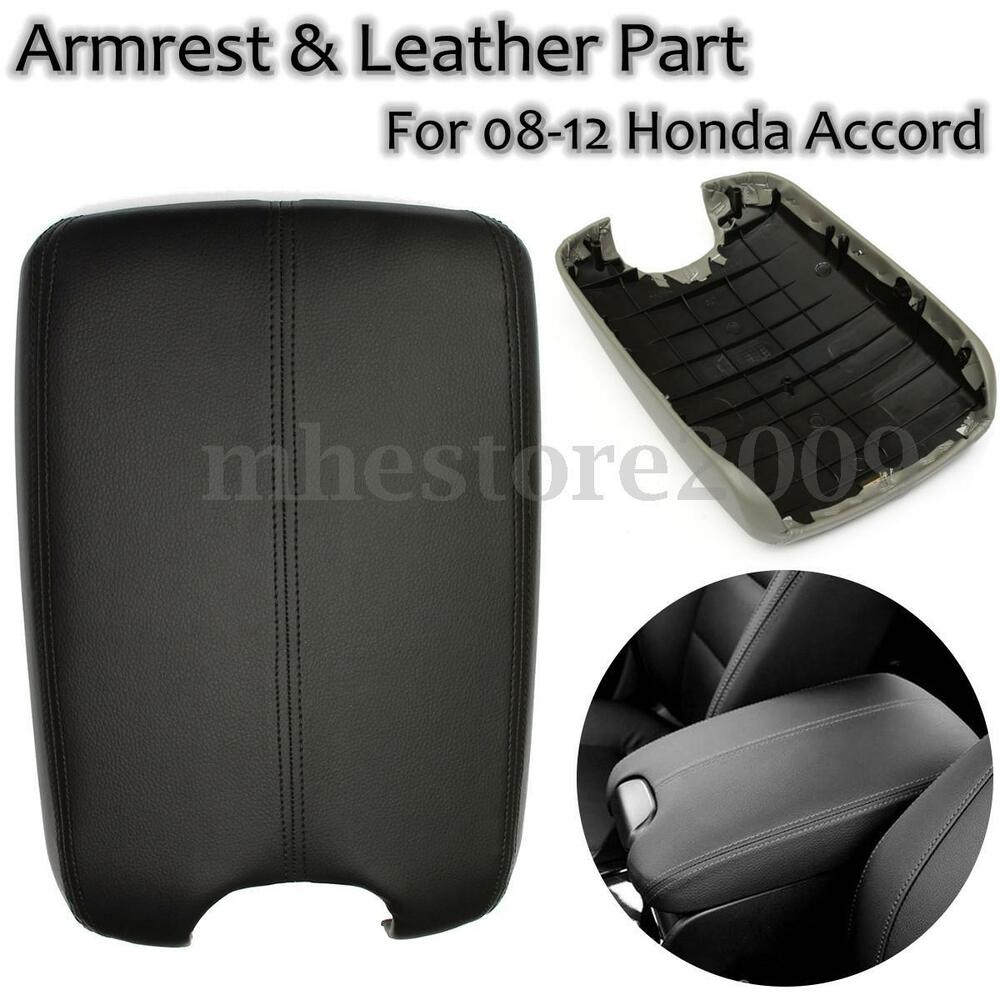 Real Leather Console Lid Armrest Cover Fits 2008 2012 Honda Accord Black Ebay