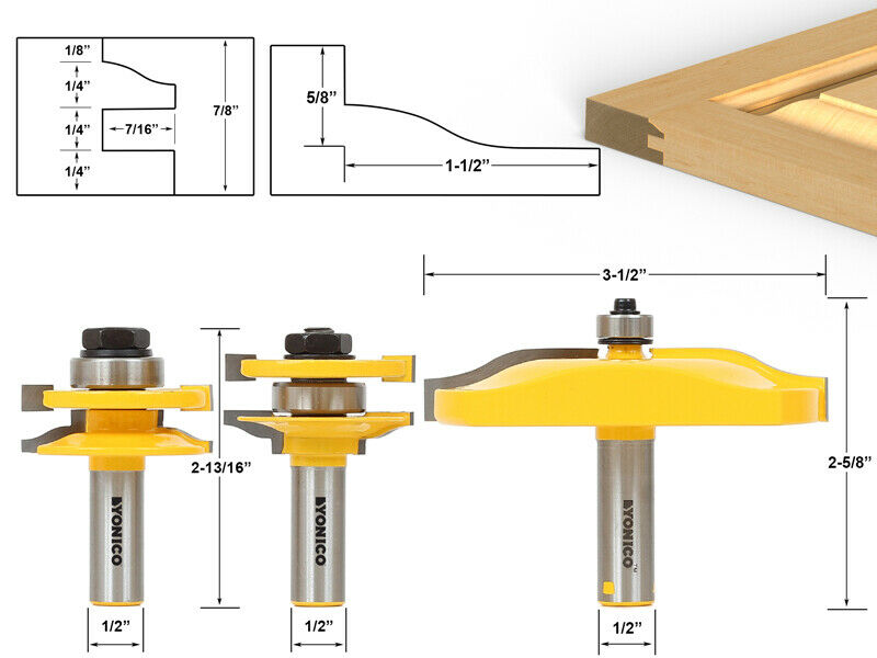 3 Pc Rail Amp Stile And Panel Raiser Router Bit Set Large