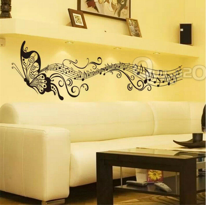 Music butterfly wall sticker art decor living room vinyl for Room decor 5d stickers