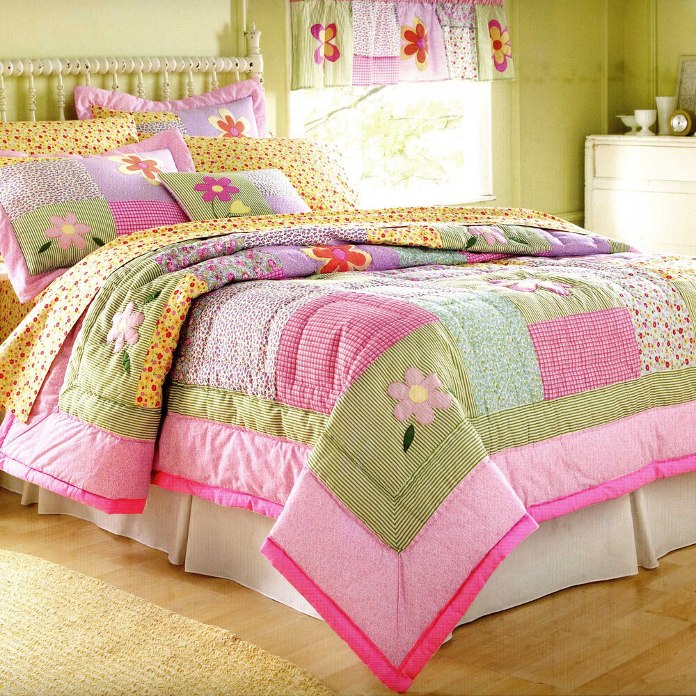 Dorinda twin single quilt set teen girls cool pink purple flower bedding ebay - Cute teenage girl bedding sets ...