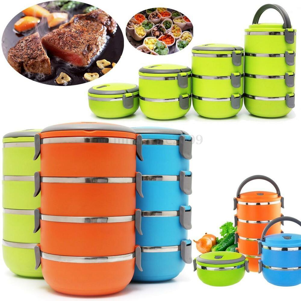 4 layers stainless steel thermal insulated lunch box bento food container handle ebay. Black Bedroom Furniture Sets. Home Design Ideas