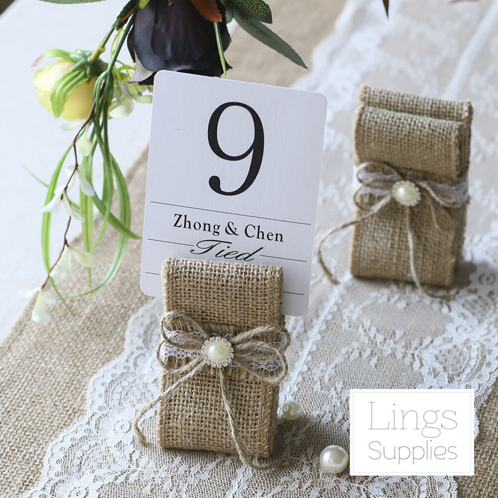1/12/24pc Burlap Table Number Holders Rustic Wedding Name