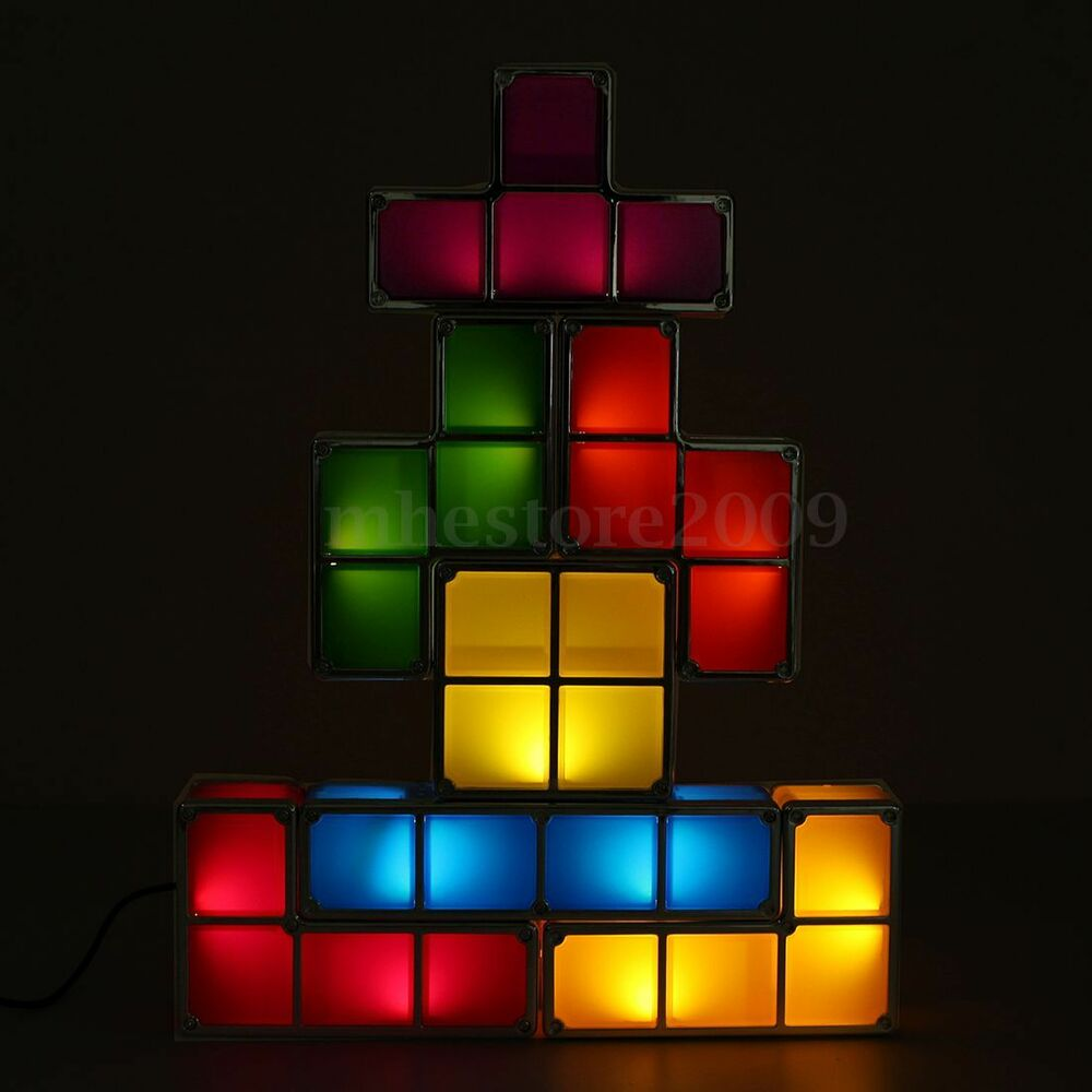 tetris constructible stackable led light desk lamp 110v 220v ebay. Black Bedroom Furniture Sets. Home Design Ideas