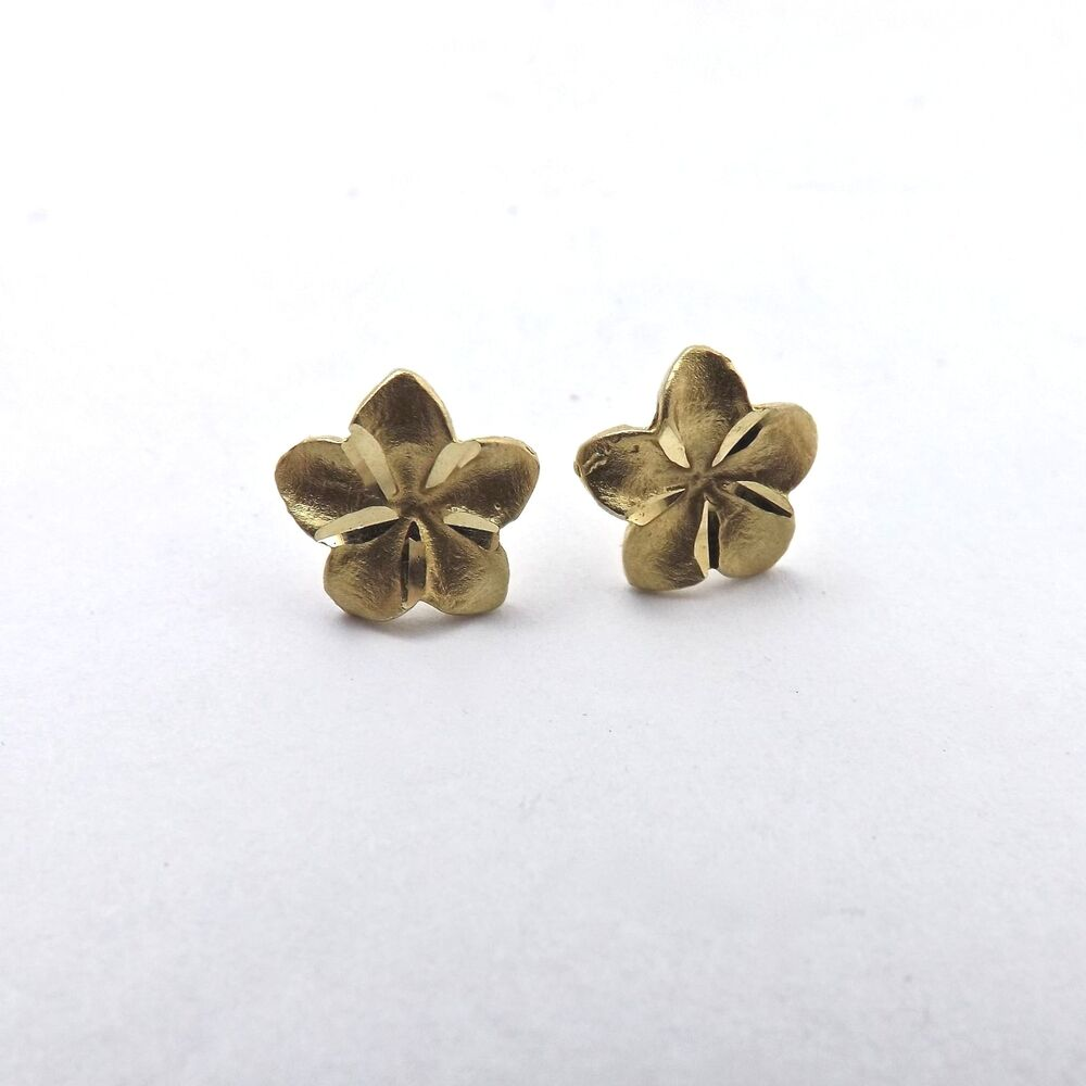 New 14k Yellow Gold 3d Hawaiian Hibiscus Flower Button Stud Earrings
