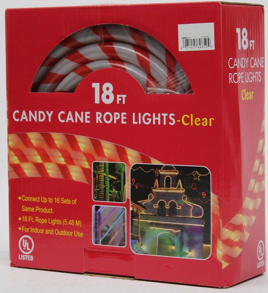 Rope Lights Malta: Christmas 18 Ft Red & White Candy Cane Tube Rope Clear