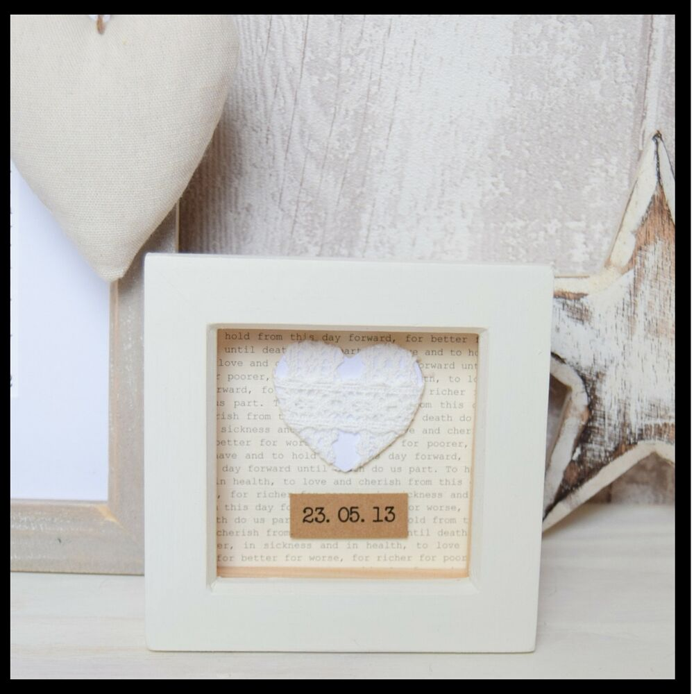 Wedding Gift For Parents Second Marriage : 2nd Wedding Anniversary Cotton Gift Vintage Frame Personalised eBay