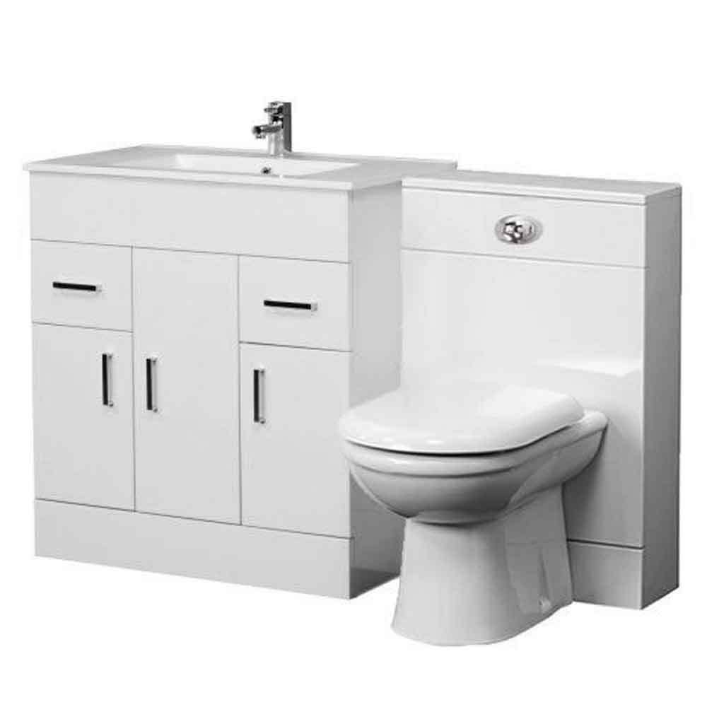1300mm bathroom vanity unit back to wall toilet basin sink - Combination bathroom vanity units ...