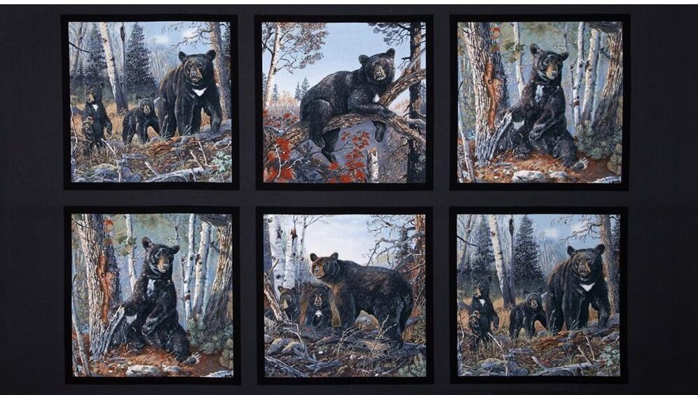 Fabric Art Panels : Wildlife panels black bear grizzly fabric material for