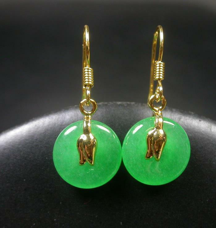 what are earrings gold plate icy green jade circle earring earrings 3661
