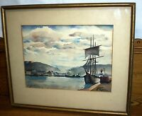 Vintage Framed Watercolor Painting - Ships and Dock - Flipp