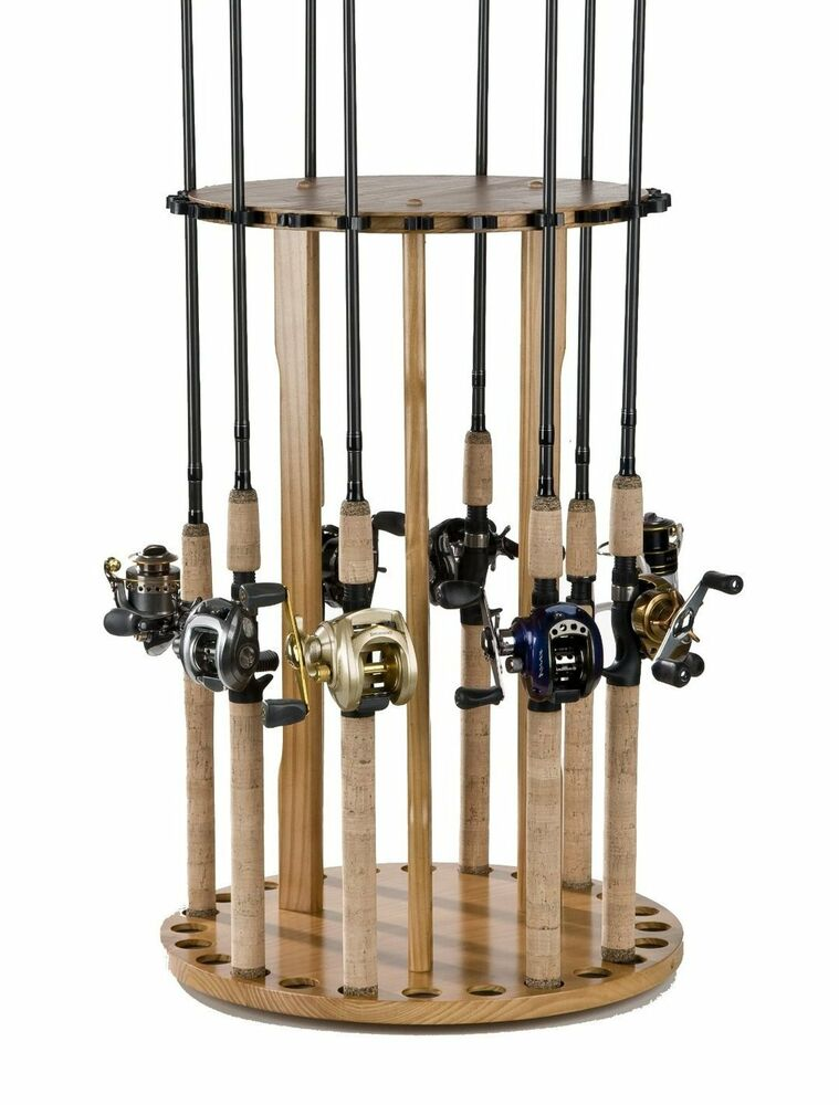 Fishing floor pole holder 24 rod reel storage rack for Fishing rod rack