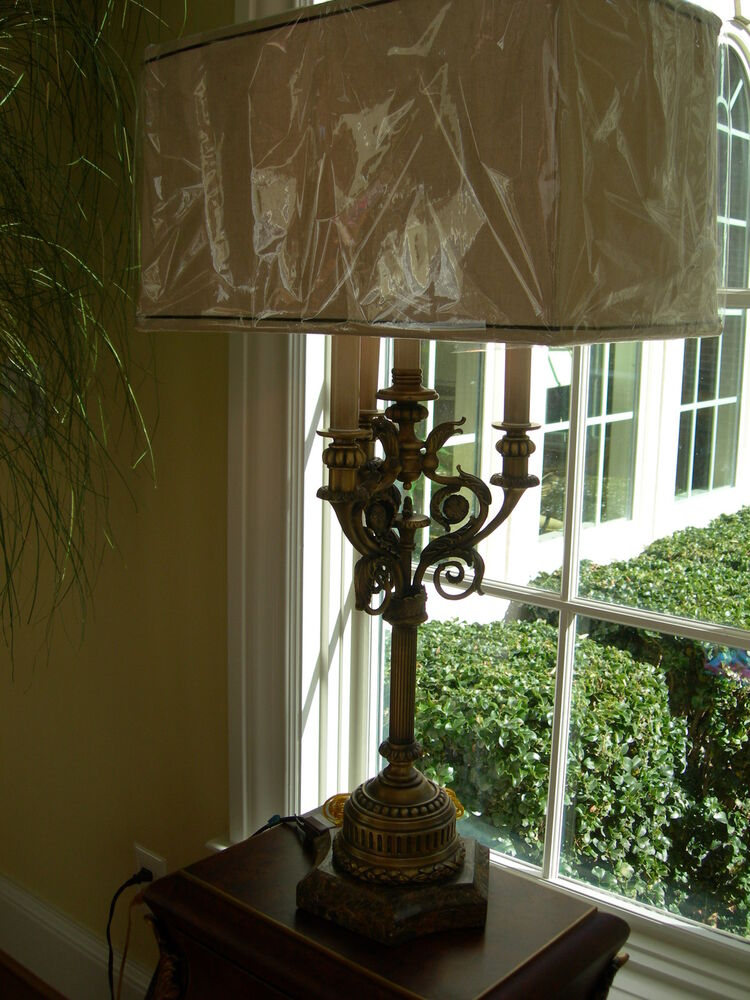 Maitland Smith Antique Brass And Stone Table Lamp Ebay