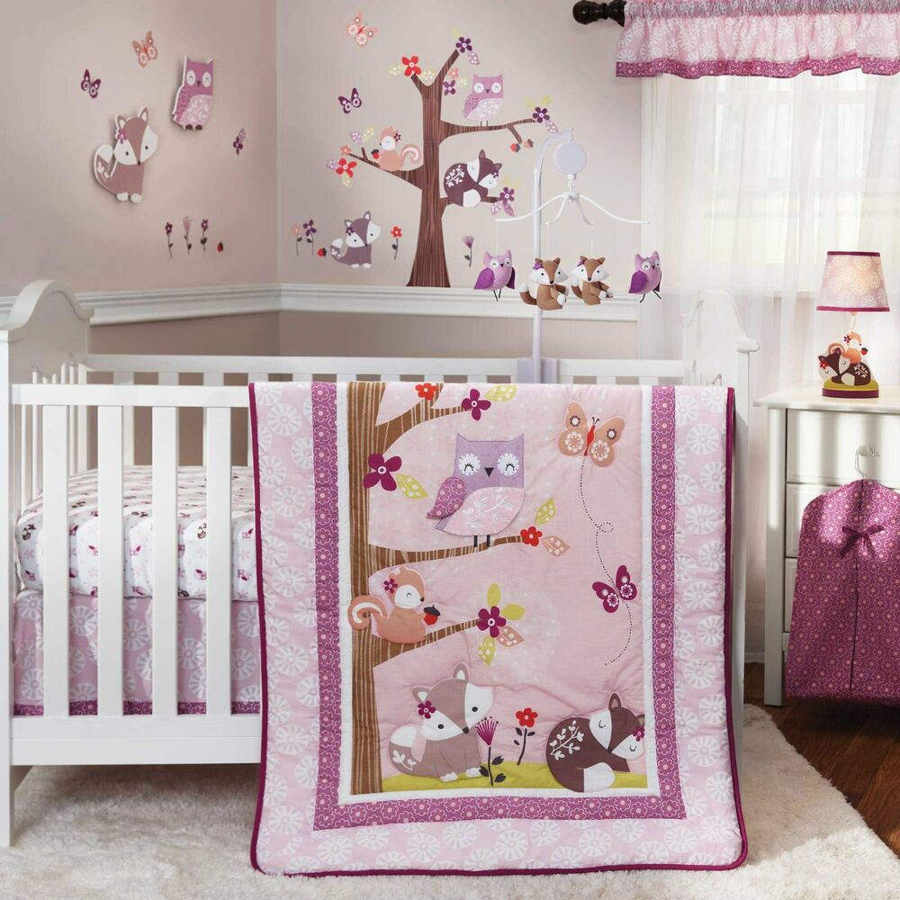 nursery 3pc fairy tale animal bedding set baby crib pink purple girls owl woods ebay. Black Bedroom Furniture Sets. Home Design Ideas
