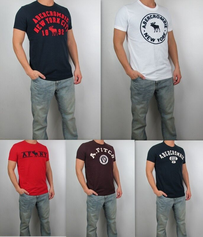 Nwt abercrombie fitch men muscle fit heritage applique for Abercrombie logo t shirt