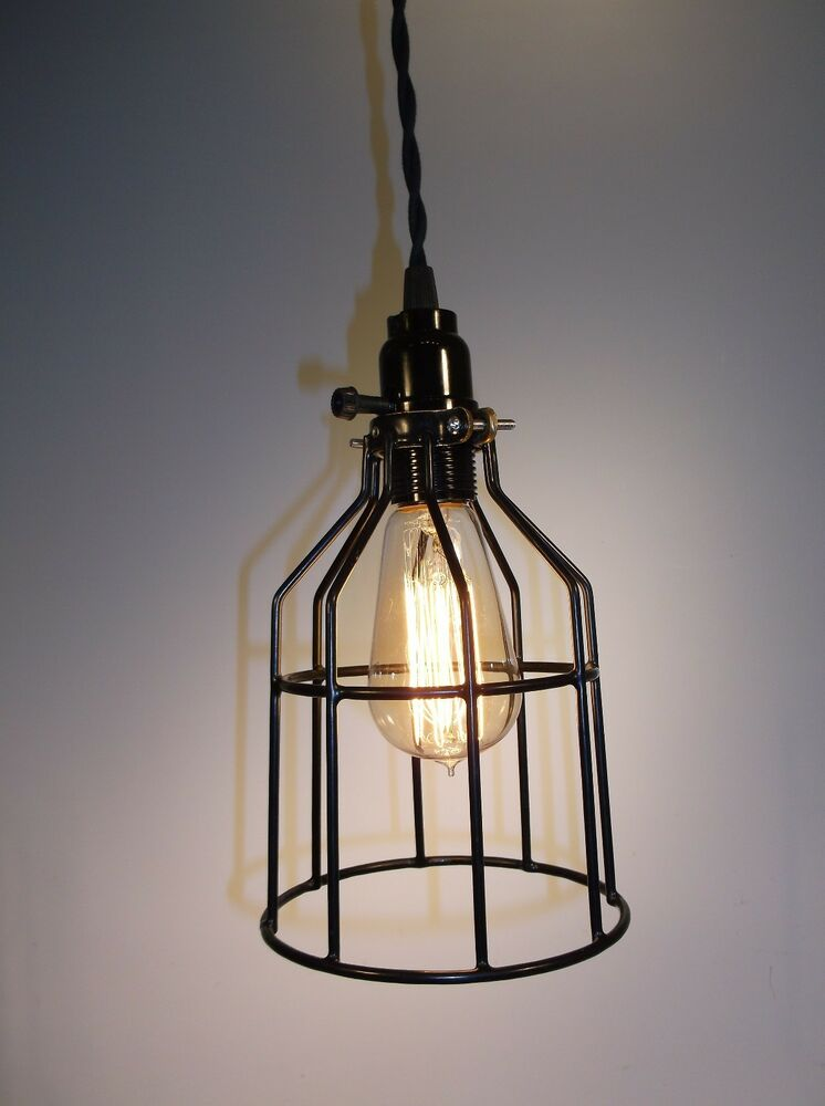 Industrial Wire Cage Light Pendant Fixture EDISON STYLE EBay