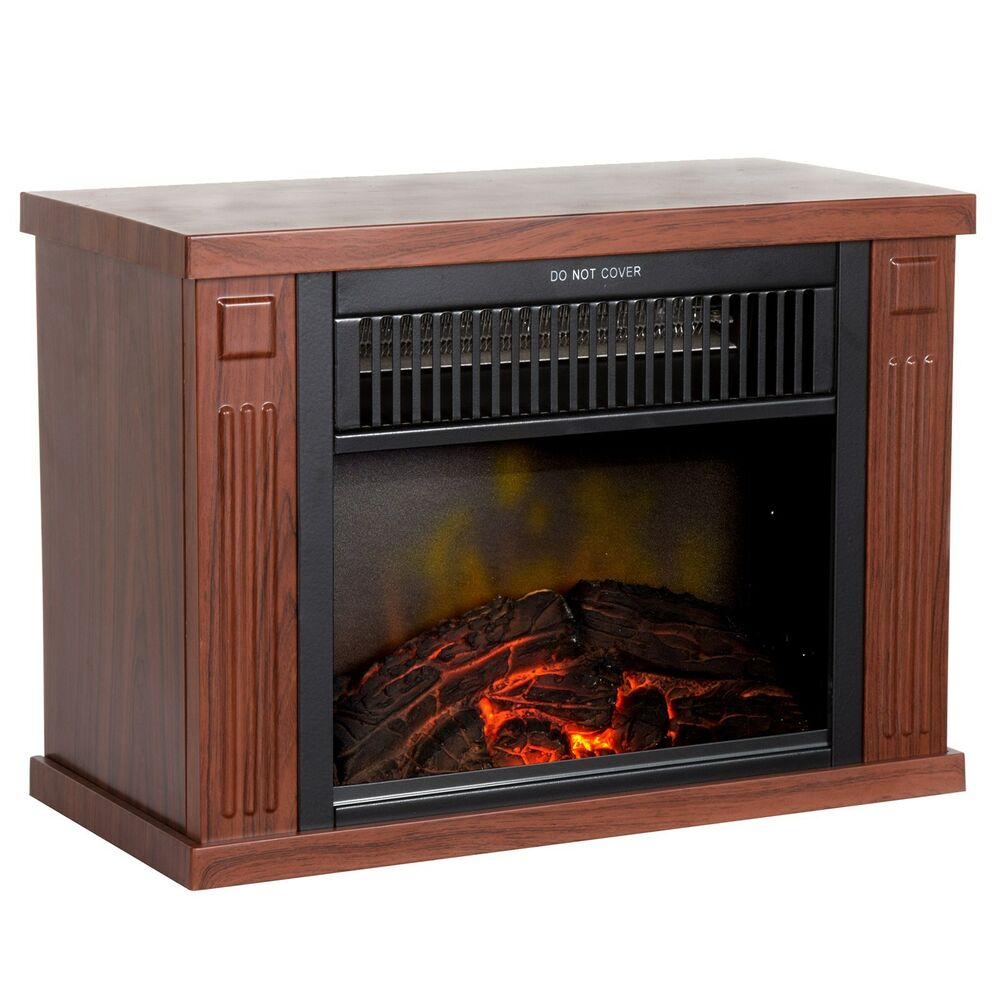 Mini Electric Fireplace Heater with Wooden Design 13 ...