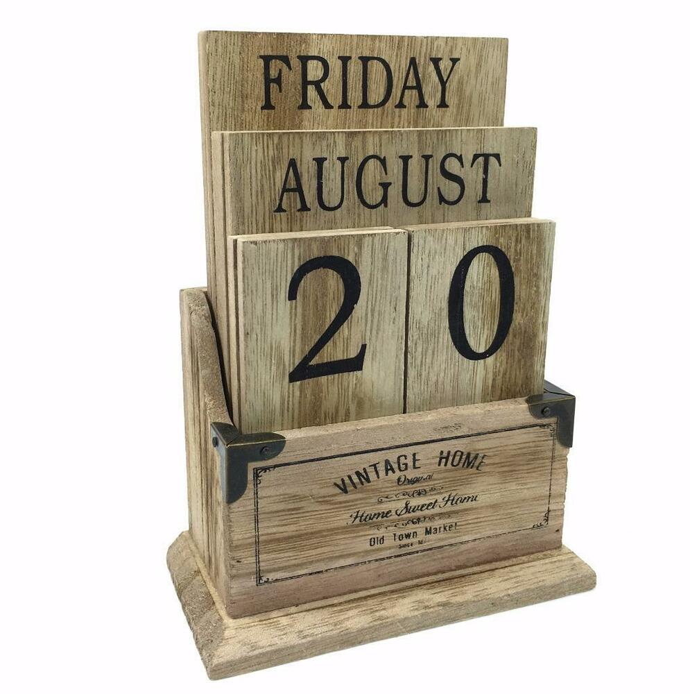 Calendar Wood Blocks : Perpetual wooden block calendar black vintage shabby chic