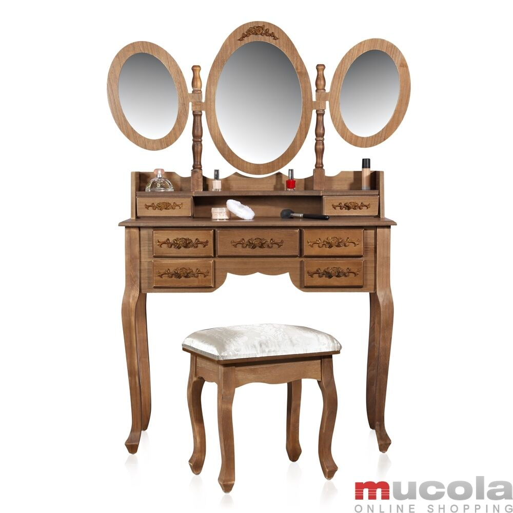 holz shabby frisierkommode schminktisch kosmetiktisch konsolentisch hocker braun ebay. Black Bedroom Furniture Sets. Home Design Ideas