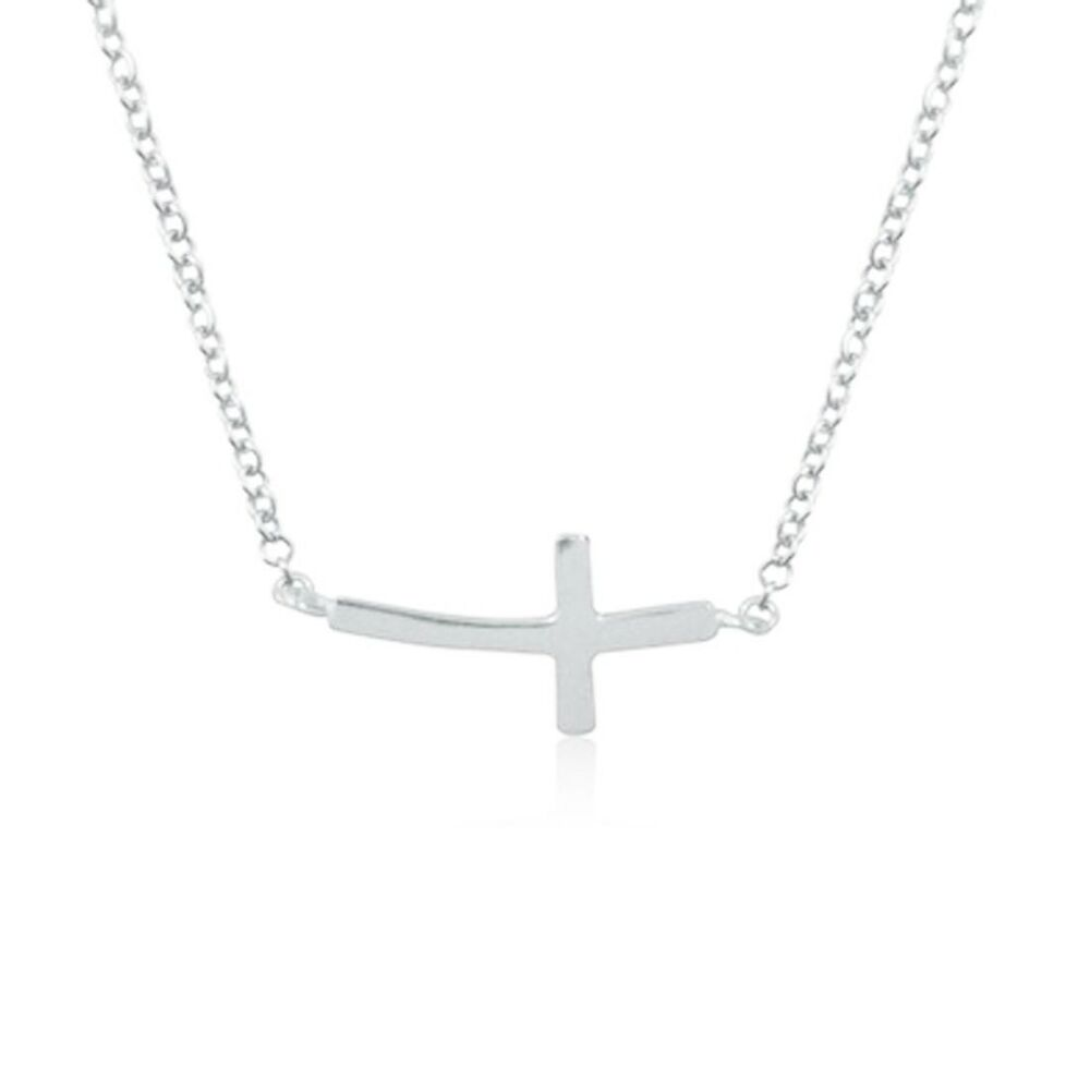 """Sideways Curved Cross Necklace: Sterling Silver Baby Curved Sideways Cross Necklace 16""""-18"""