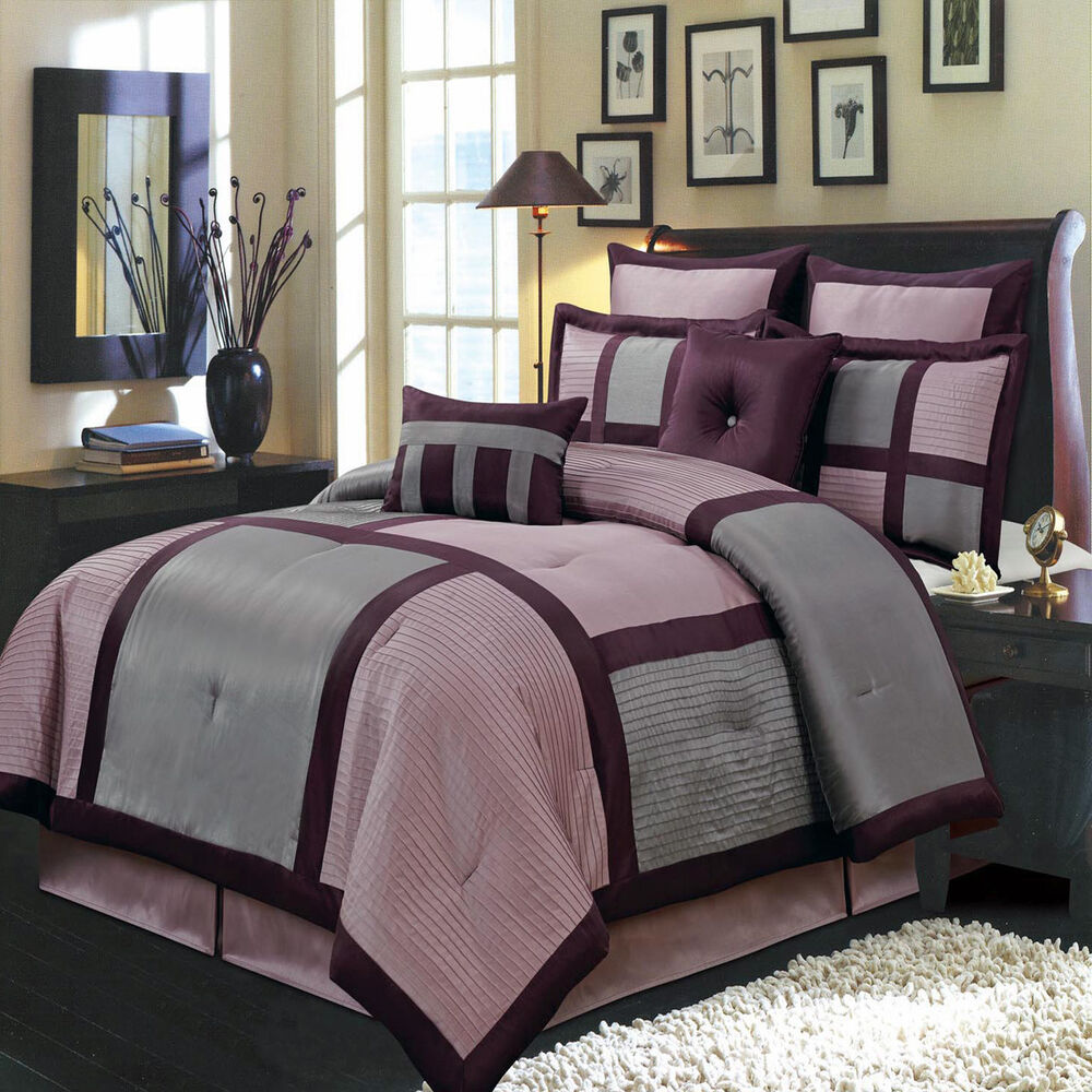 Morgan purple 8 pc bedding set includes comforter skirt - Complete bedroom sets with curtains ...