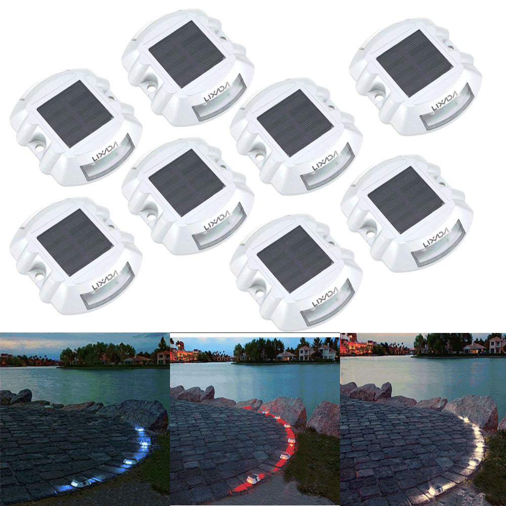 8 pack Solar LED Pathway Driveway Lights Dock Path Step Road Safety Marker Q9IO : eBay