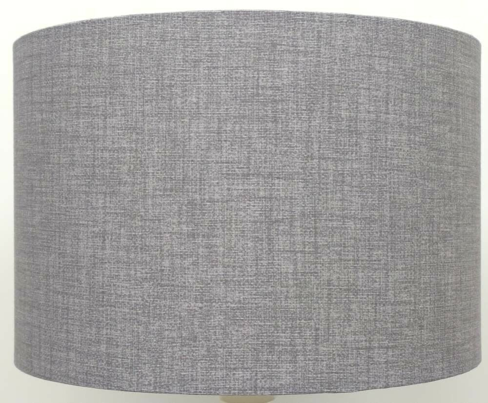 Silver Grey Linen Style Drum Lampshades Ceiling Light