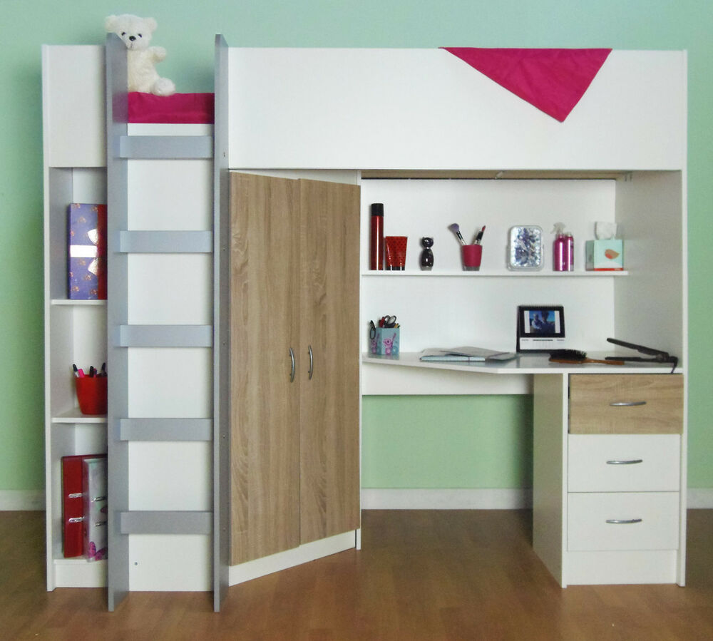 Are Cabin Beds The Solution For Small Bedrooms: CAMBRIDGE HIGH SLEEPER CHILDRENS CABIN BED WHITE AND OAK