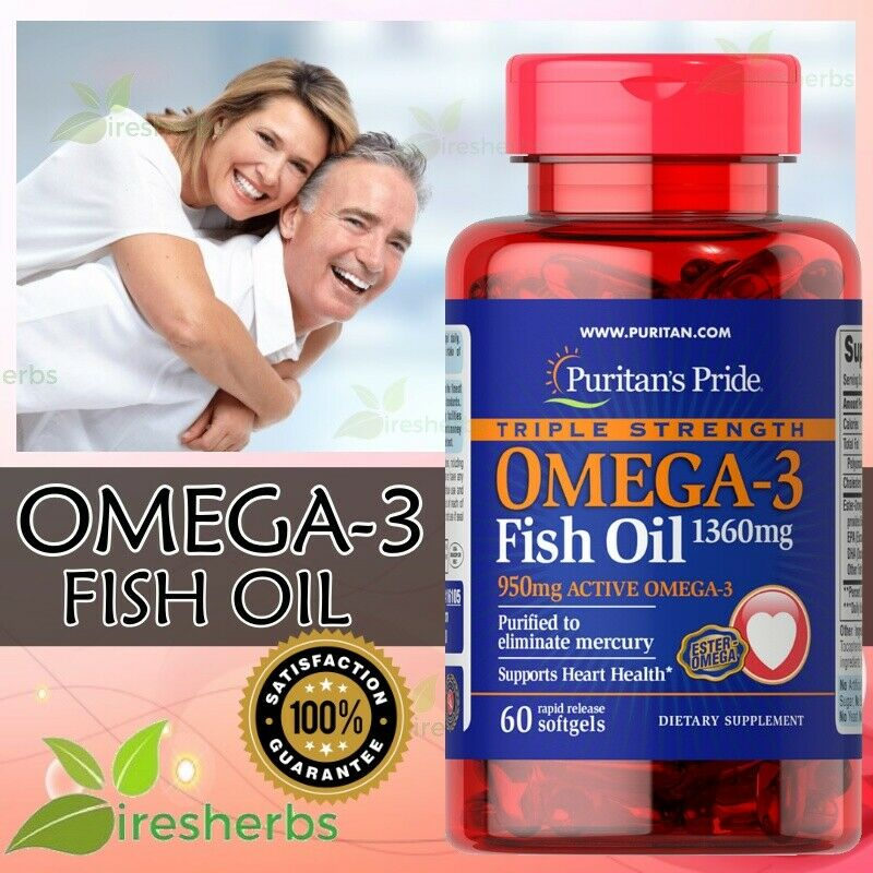 triple strength omega 3 6 9 fatty acids fish oil 1360mg purified xl 60 softgels ebay. Black Bedroom Furniture Sets. Home Design Ideas