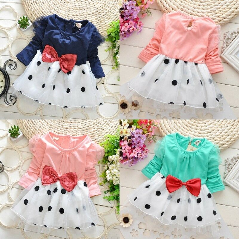 Baby toddler girls long sleeve princess party dress clothes ebay