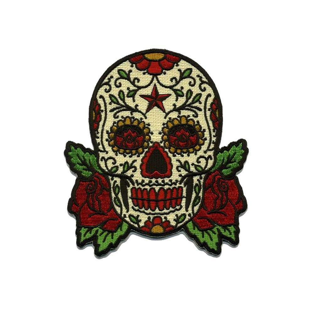 Sugar Skull Patch Embroidered Iron Jacket Applique Day of ...