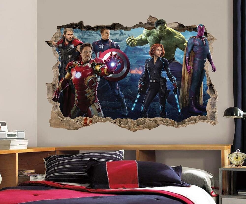 The avengers smashed wall 3d decal removable graphic wall for Sticker mural 3d