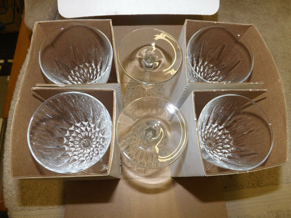 luminarc jg durand 6 diamant crystal wine glass goblets cristal d 39 arques ebay. Black Bedroom Furniture Sets. Home Design Ideas