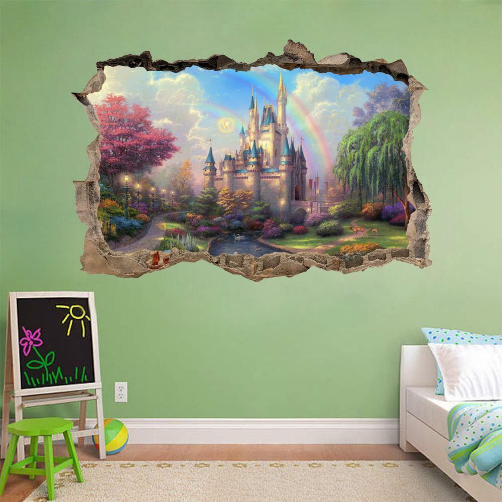 Fantasy princess castle smashed wall 3d decal removable for Sticker mural 3d