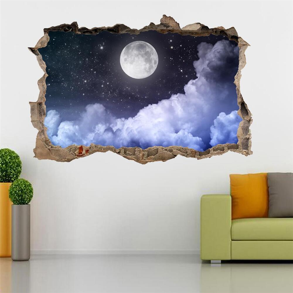 Full Moon Stary Night Smashed Wall 3d Decal Removable Wall