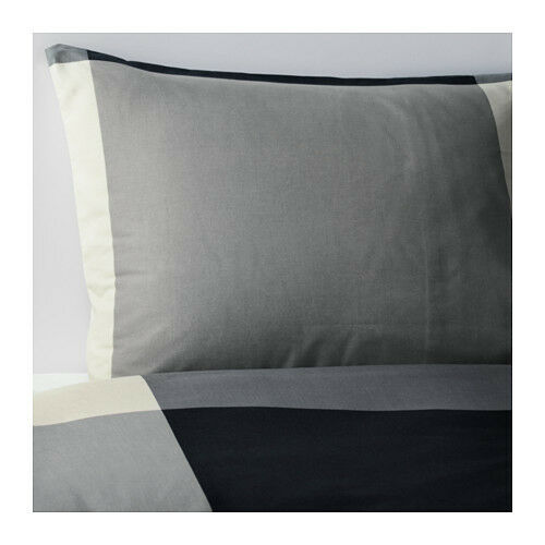 Ikea twin brunkrissla duvet cover pillowcase black gray for Ikea bed covers sets queen