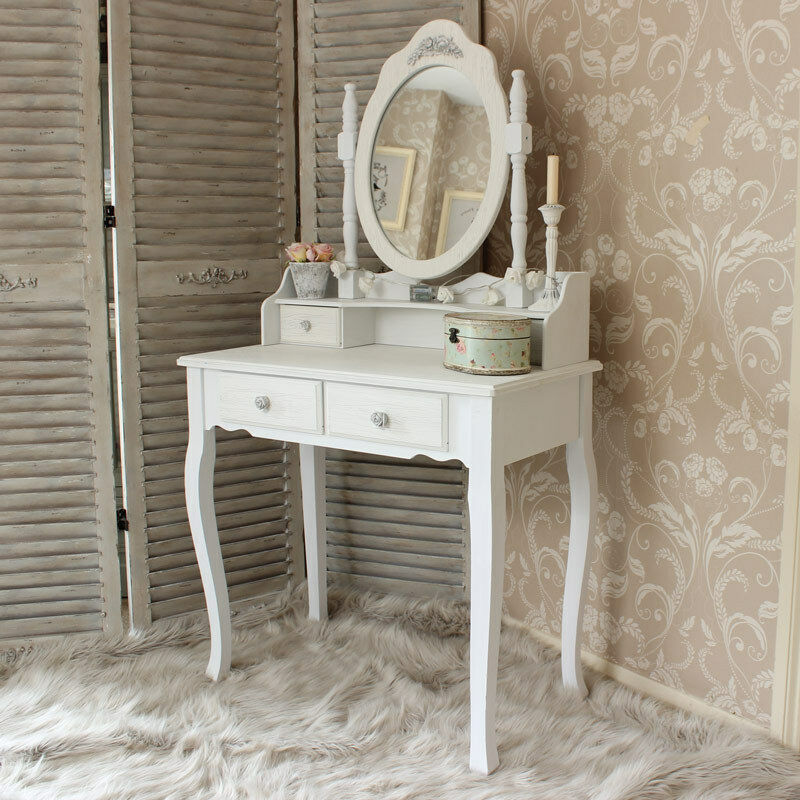 White wooden dressing table set mirror shabby french chic White shabby chic bedroom furniture