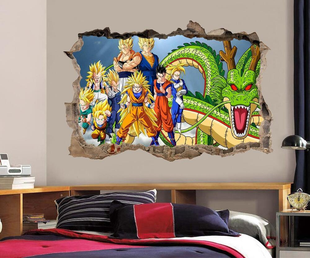 dragon ball z wall decal removable wall sticker mural goku vegeta shenron h189 ebay. Black Bedroom Furniture Sets. Home Design Ideas