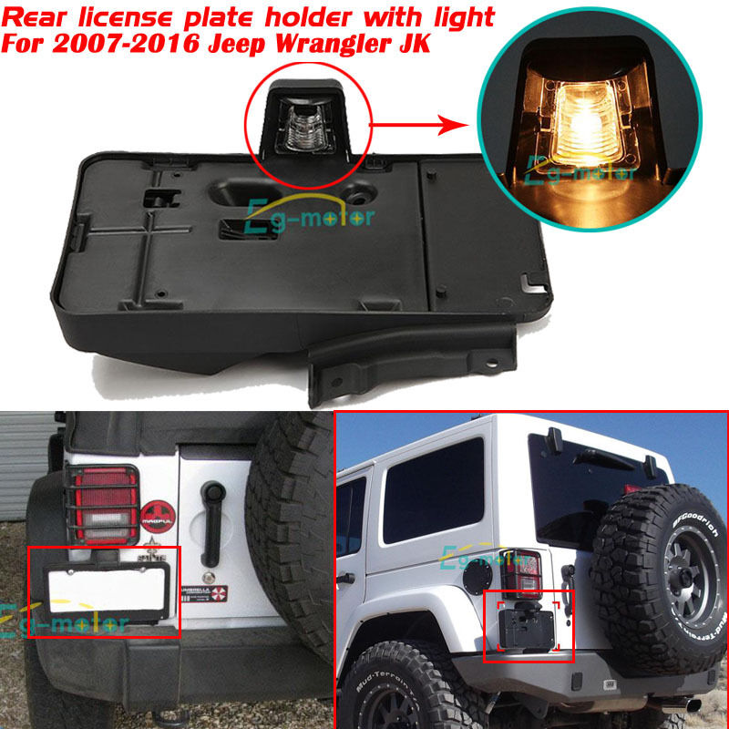 Rear License Plate Tag Holder Bracket With Light For 2007