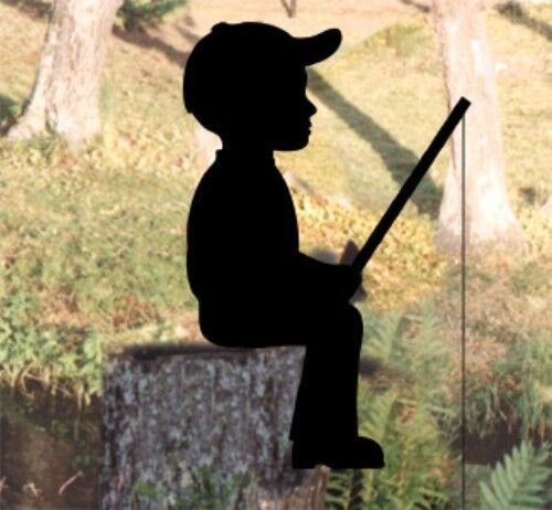 New lawn art yard shadow silhouette fishing boy ebay for Yard shadow patterns