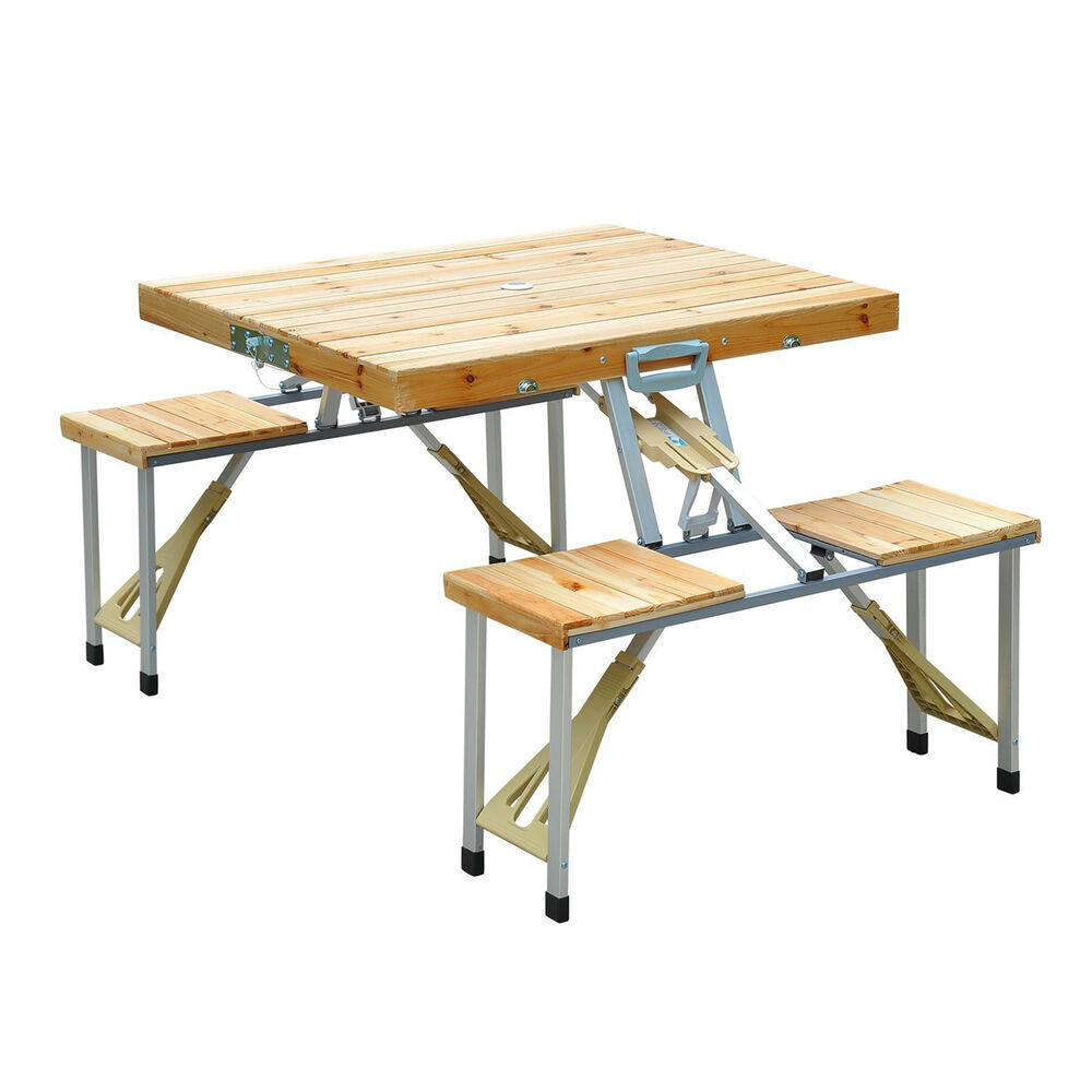 Table With Bench Seating: Wooden Picnic Table Bench Seat Outdoor Portable Folding
