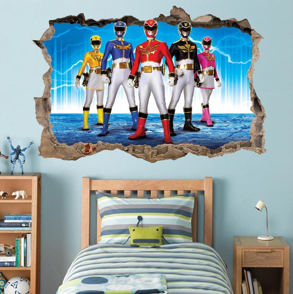 Power Rangers Bedroom Decor Power Rangers Smashed Wall Decal Removable Graphic Wall Sticker