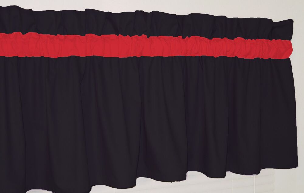 Solid Black And Red Window Curtain Valance Bed Bath