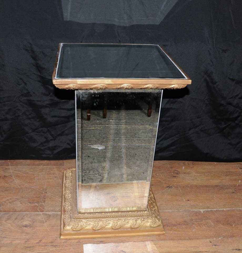 art deco mirrored side table pedestal stand ebay On stand deco